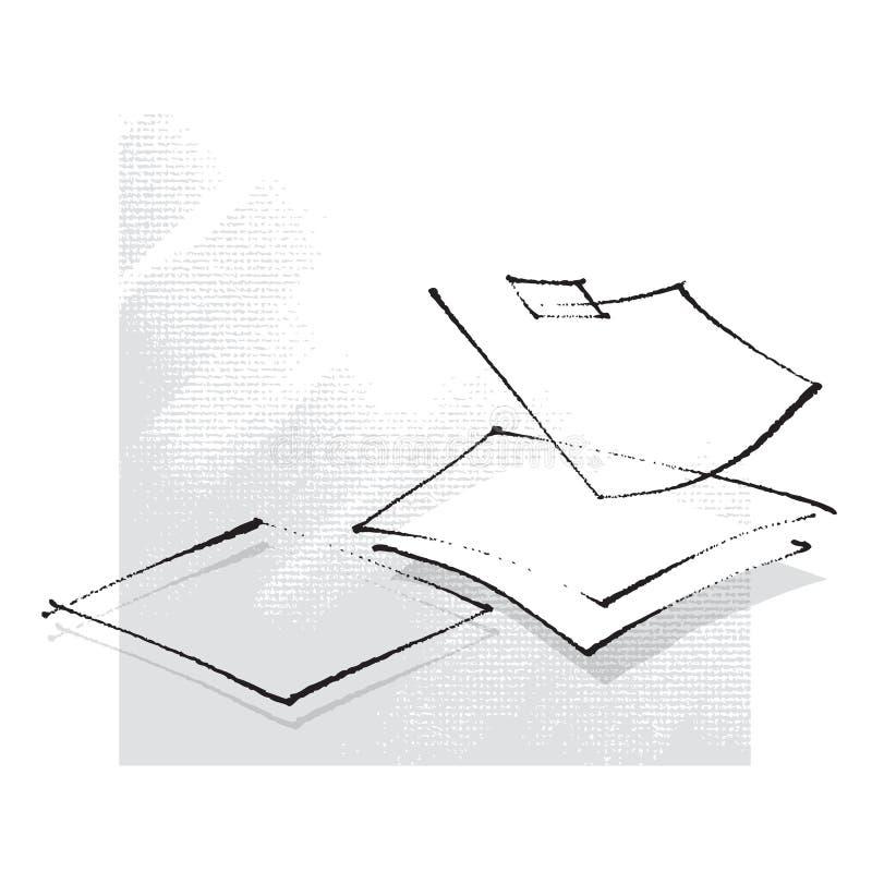 Folhas de papel vazias, ícone, desenho da carta branca ilustração stock