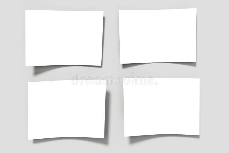 Folhas de papel vazias em uma superfície cinzenta ilustração royalty free