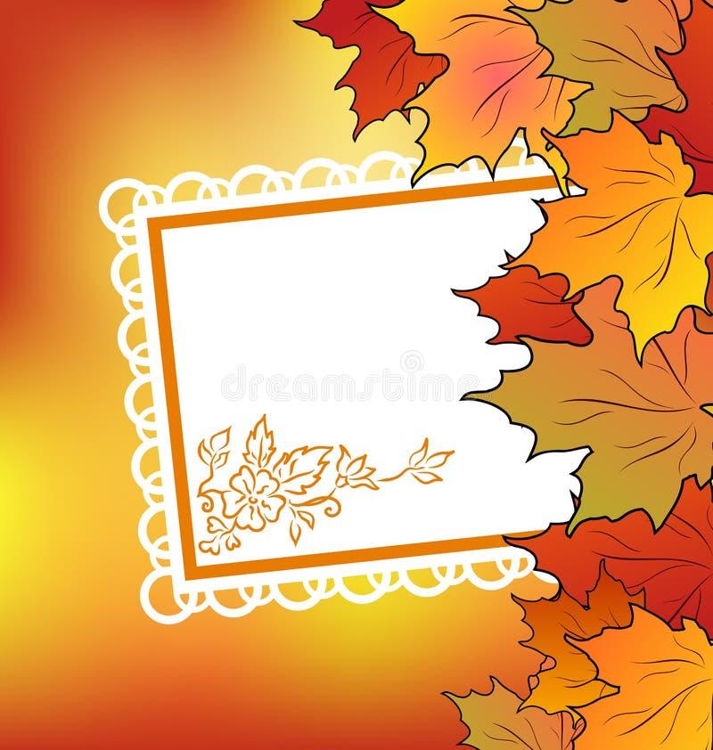 Folhas de plátano do outono com cartão floral ilustração do vetor