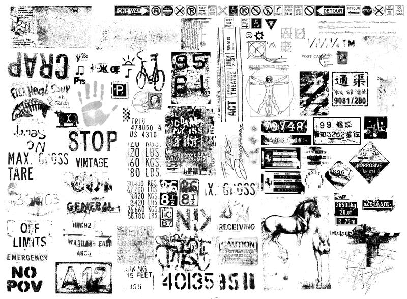Folhas de prova do texto do Grunge ilustração stock