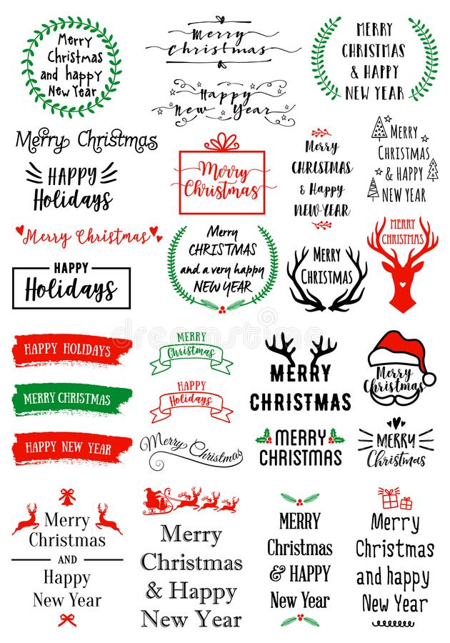 Folhas de prova do texto do Natal, grupo do vetor ilustração do vetor