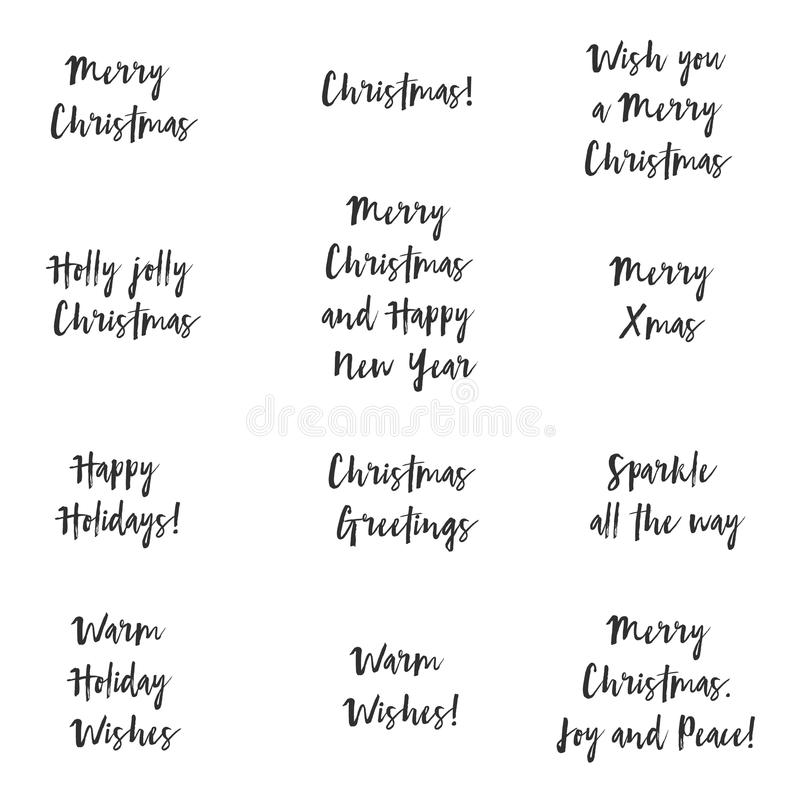 Folhas de prova do vetor do texto dos cumprimentos do Natal ilustração do vetor