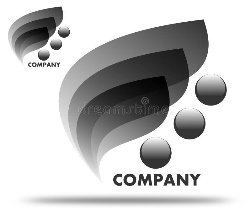 Folhas de tiragem do preto do logotipo da empresa ilustração royalty free