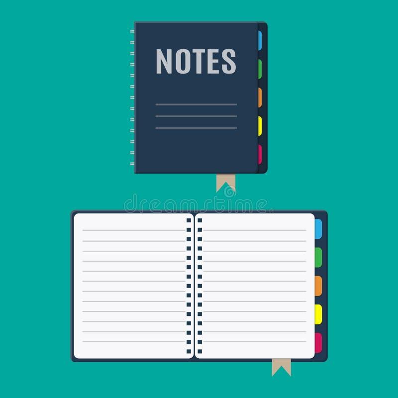 Folhas do bloco de notas e do papel com marcador ilustração do vetor