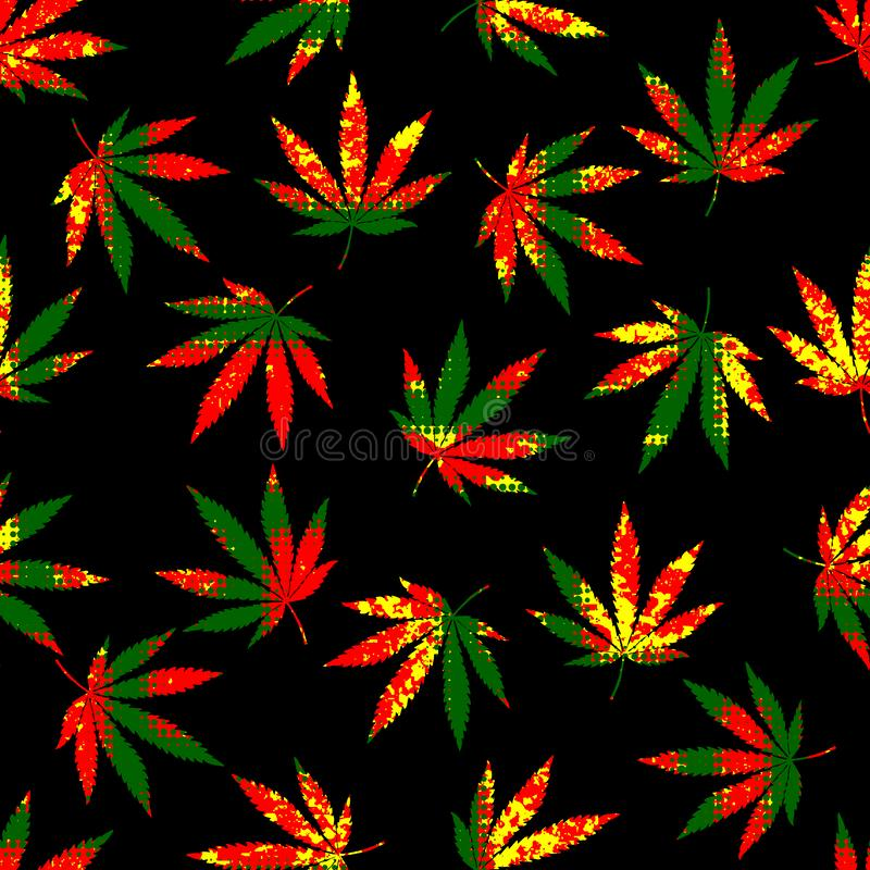 Folhas do cânhamo do grunge de Rastafarian ilustração royalty free