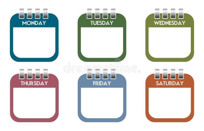 Folhas do calendário do dia da semana ilustração stock