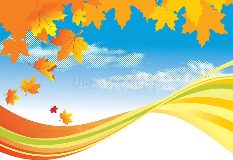 Folhas do fundo/ouro do outono e céu azul ilustração stock