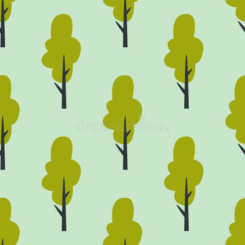 Folhas do fundo sem emenda da planta da folha do verão do vetor do teste padrão das árvores verdes ilustração royalty free