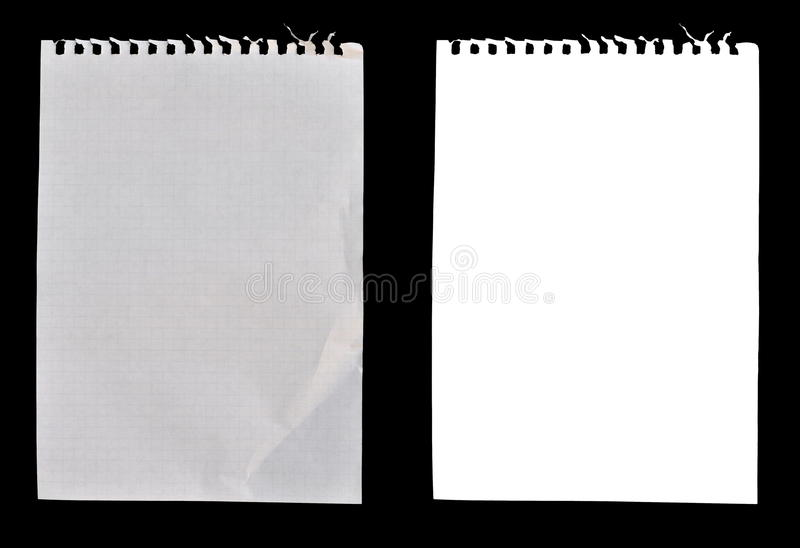 Folhas do papel do caderno foto de stock