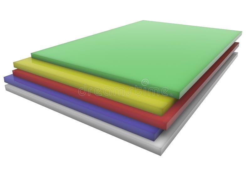 Folhas do plástico da cor ilustração do vetor