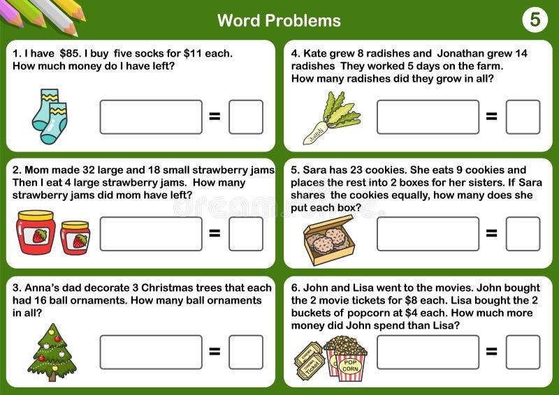 Folhas do problema da palavra da matemática - folha para o exame e os testes ilustração stock
