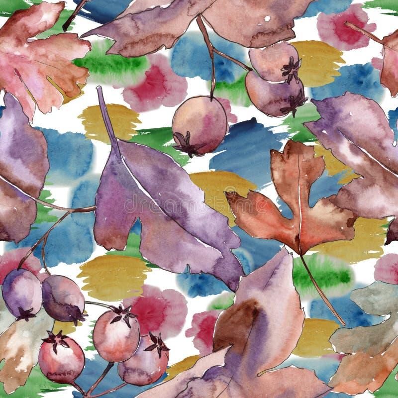 Folhas do teste padrão do espinho em um estilo da aquarela ilustração do vetor