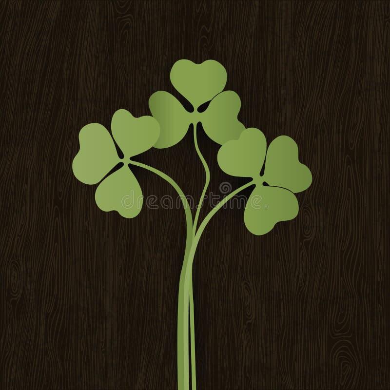 Folhas do trevo na textura resistida de madeira. ilustração royalty free