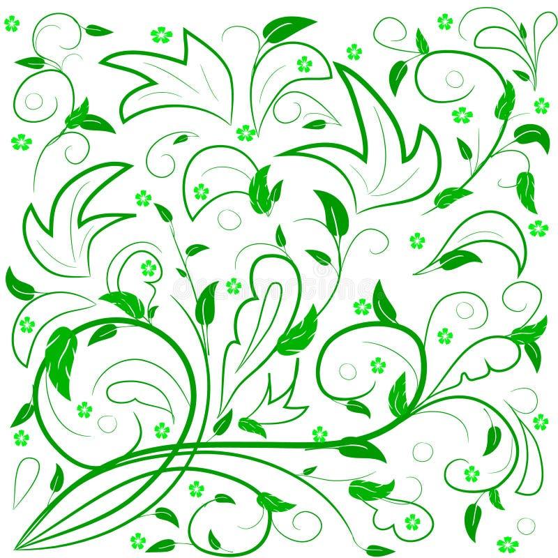 Folhas do verde com redemoinhos abstratos ilustração royalty free