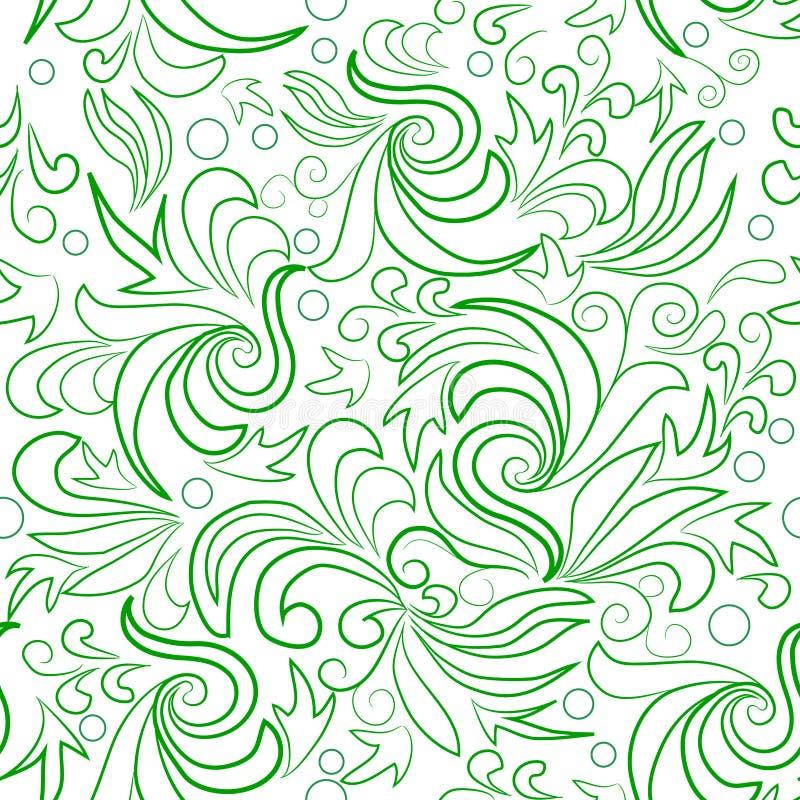 Folhas do verde com redemoinhos abstratos ilustração do vetor