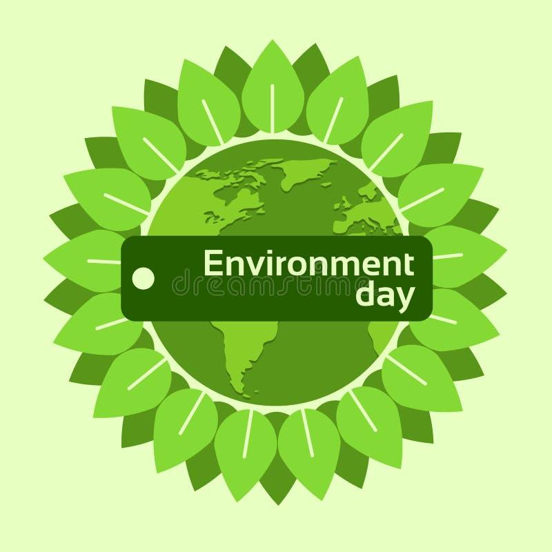 Folhas do verde do globo do planeta da terra do dia de ambiente de mundo ilustração royalty free