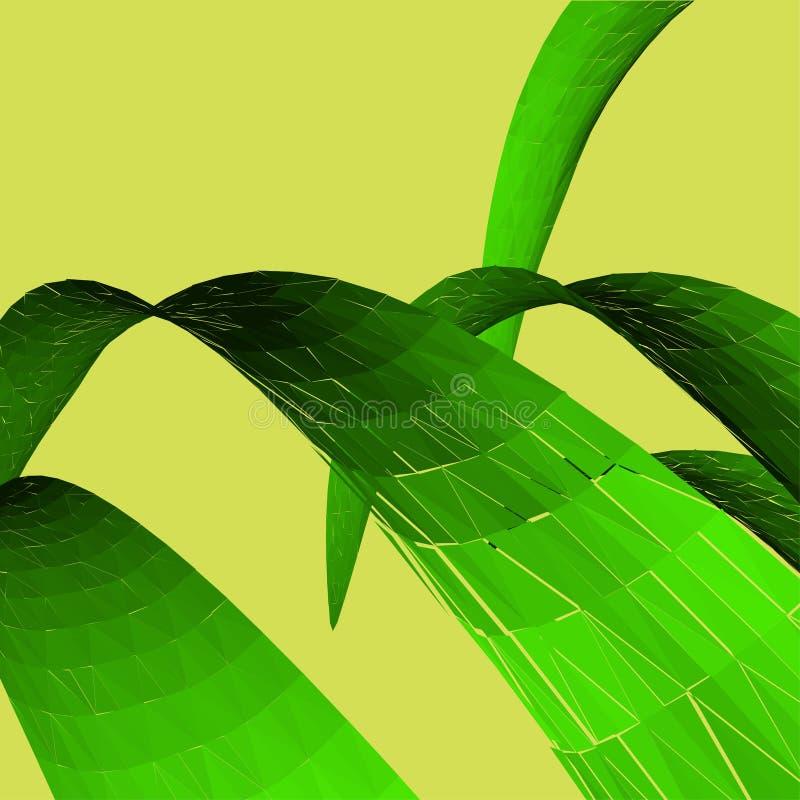 Folhas do verde no fundo amarelo Conceito do verão fotografia de stock