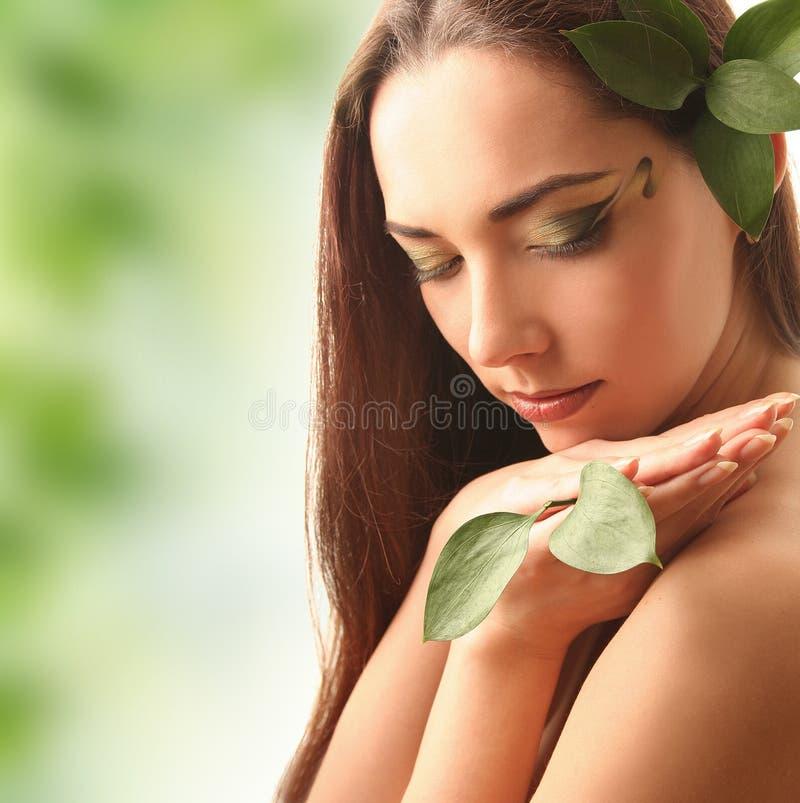 Folhas do verde no verde imagem de stock royalty free