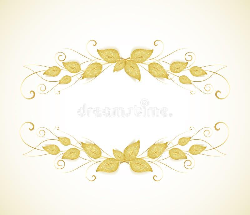 Folhas douradas ilustração royalty free