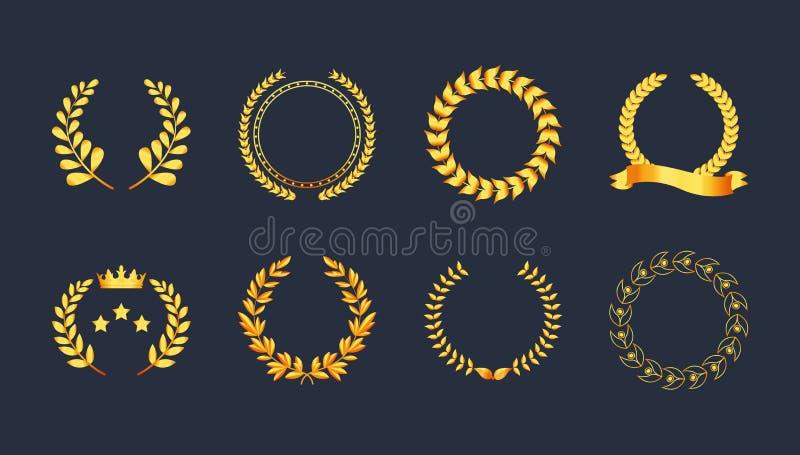 Folhas douradas da silhueta do ouro da grinalda do louro da qualidade superior ajustada ilustração royalty free