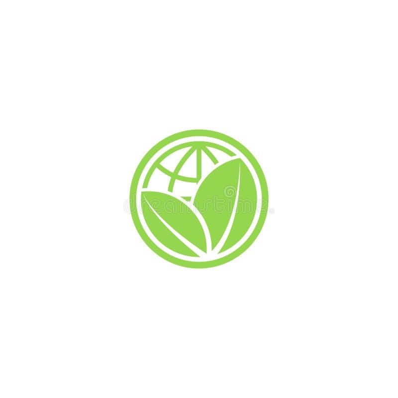 Folhas e ícone verdes do eco do globo, logotipo do planeta das economias do modelo ilustração stock