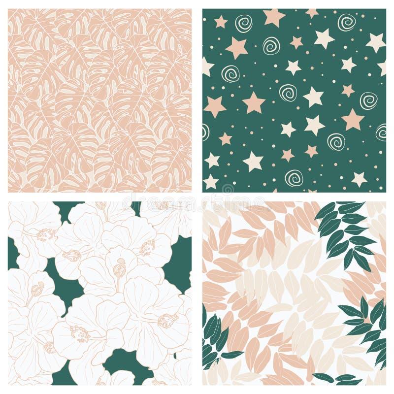 Folhas e céu tropicais bonitos completamente do grupo sem emenda do projeto do teste padrão das crianças das estrelas ilustração do vetor