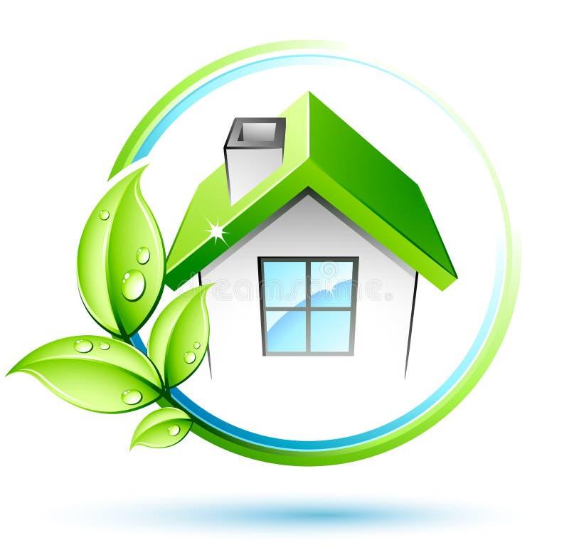 Folhas e casa do verde ilustração stock