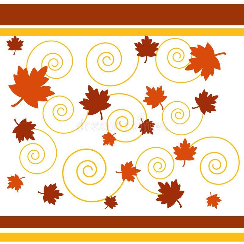 Folhas e espirais de outono ilustração royalty free