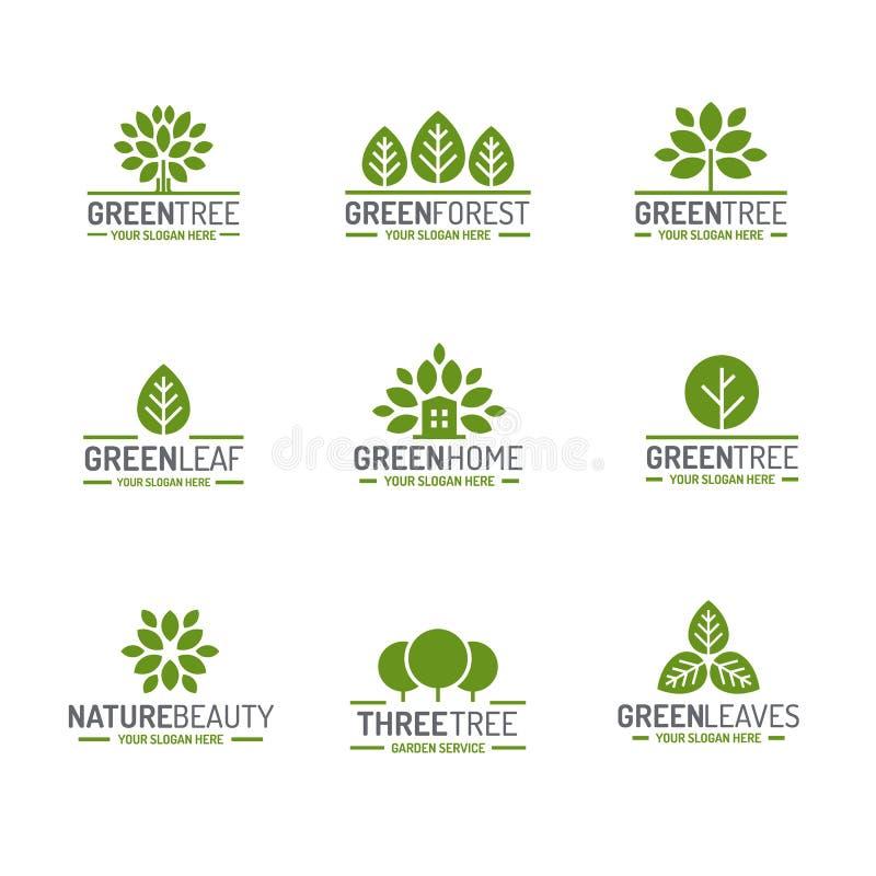 Folhas e estilo liso ajustado da cor verde do logotipo da árvore para os comp(s) da ecologia ilustração stock