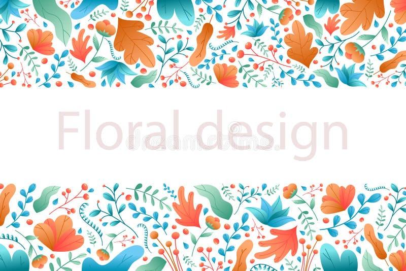 Folhas e flores da planta Quadro horizontal natural do sumário flo ilustração do vetor