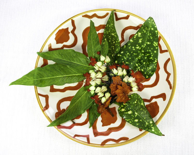 Folhas e flores tropicais na placa asiática imagens de stock