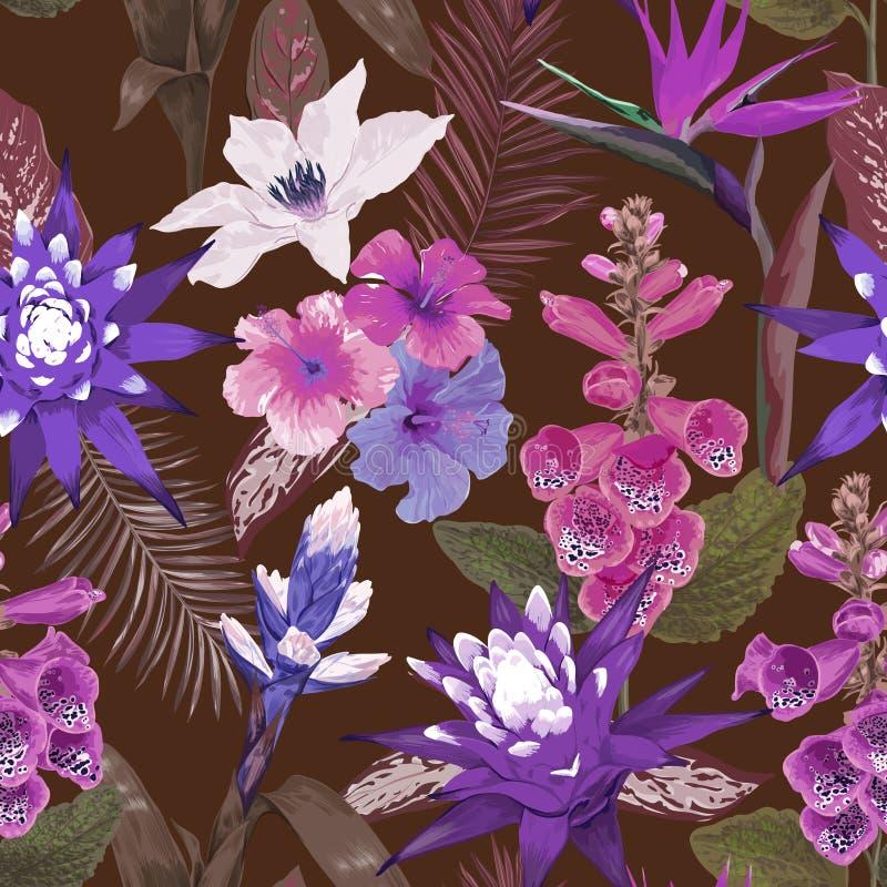 Folhas e flores tropicais sem emenda, teste padrão tropico no estilo da aquarela, cópia do fundo do verão, cartaz, tampa ilustração royalty free