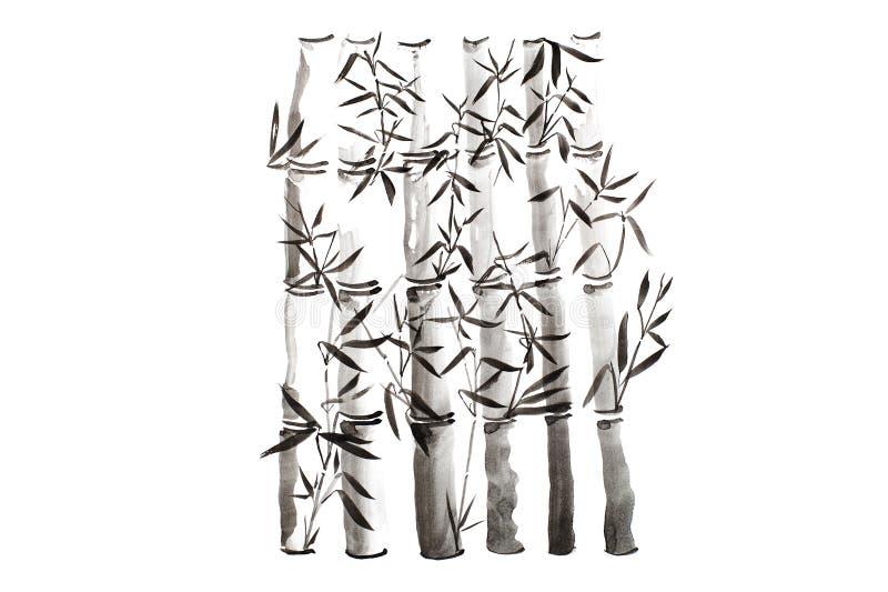 Folhas e grupo de bambu tirados mão do ramo, pintura da tinta Pintura caligráfica seca tradicional da escova Isolado no fundo bra ilustração do vetor