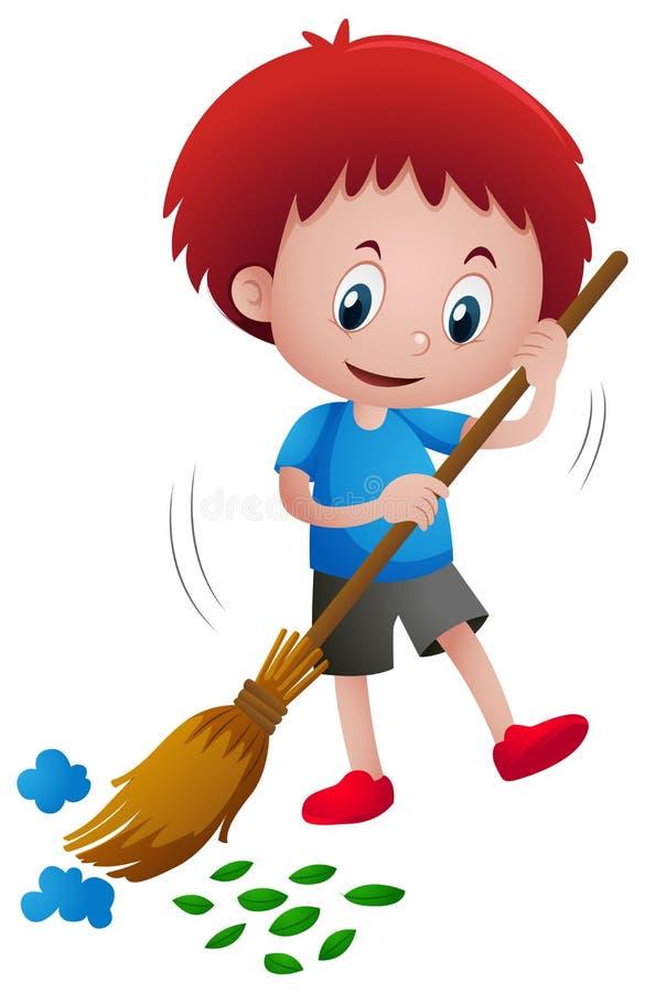 Folhas e lixo varrendo do menino ilustração stock