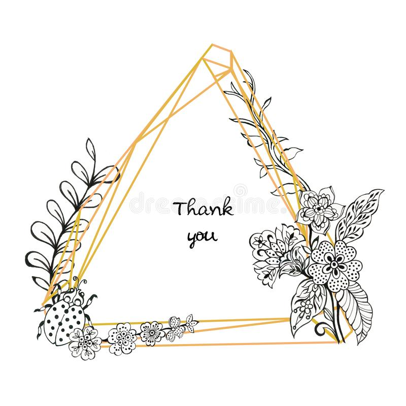Folhas e ouro de ramos de flores do quet-garden asian batik boho e folhas ilustração do vetor
