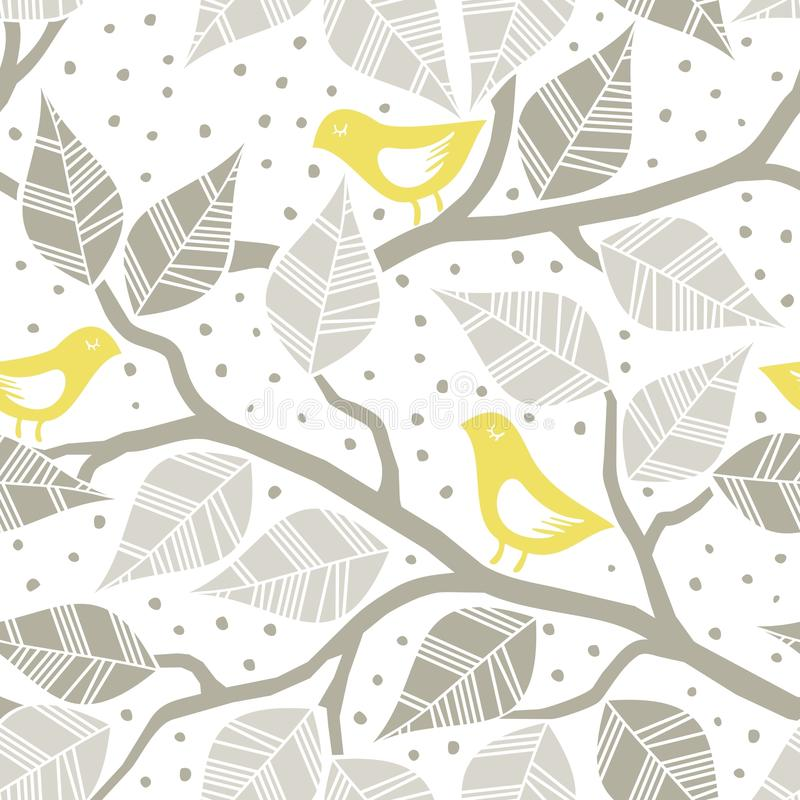 Folhas e pássaros amarelos em ramos ilustração stock