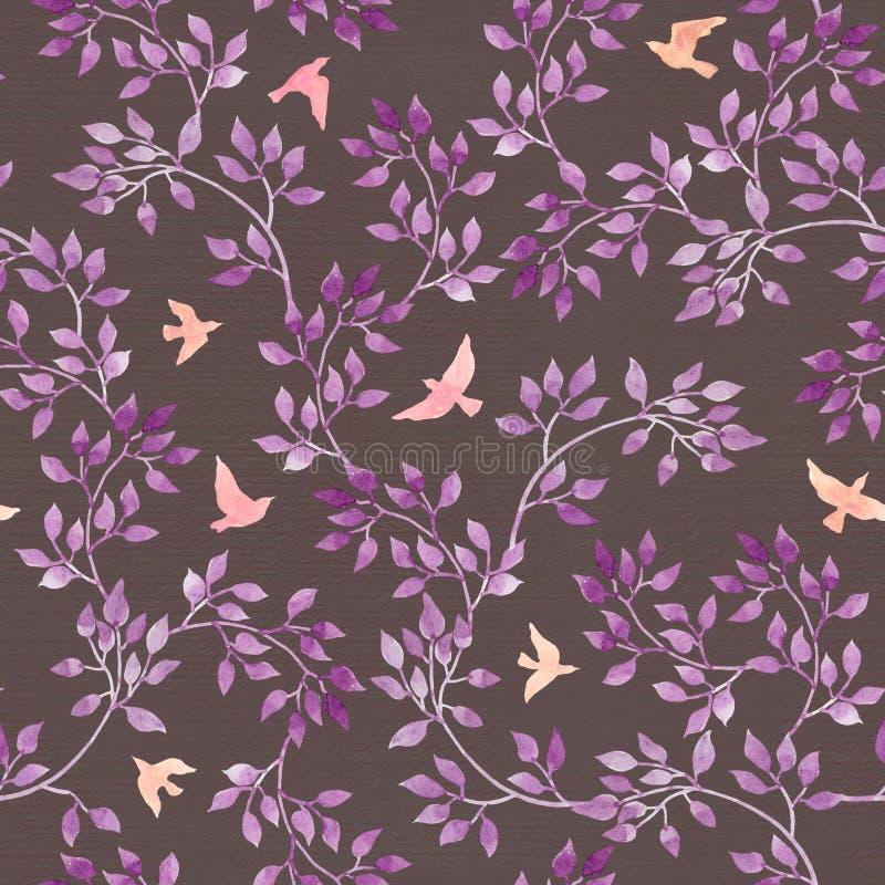 Folhas e pássaros bonitos Teste padrão sem emenda da floresta do Watercolour no projeto ingênuo foto de stock