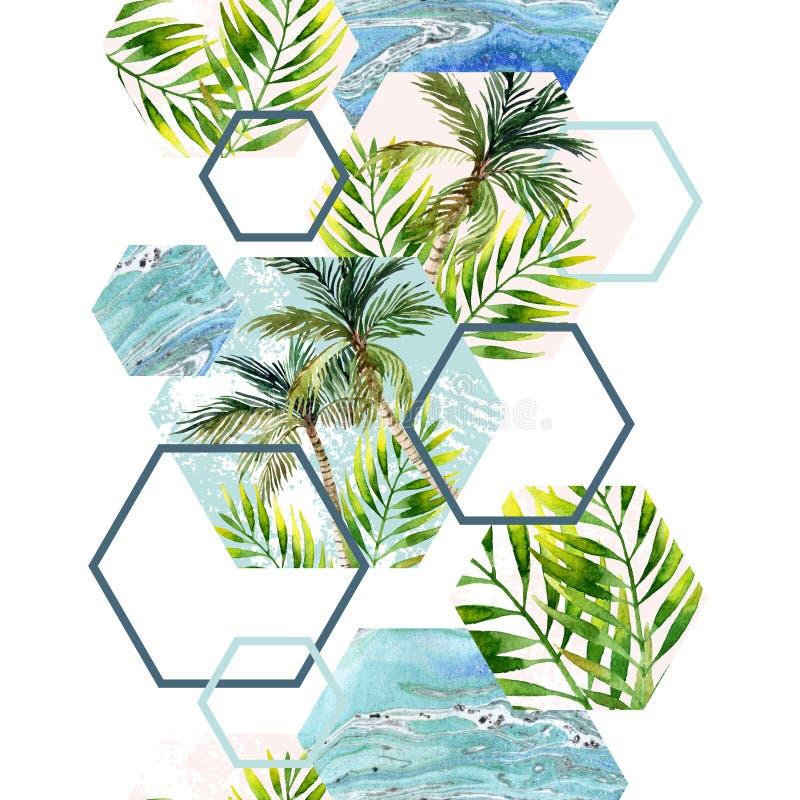 Folhas e palmeiras tropicais da aquarela no teste padrão sem emenda das formas geométricas ilustração do vetor