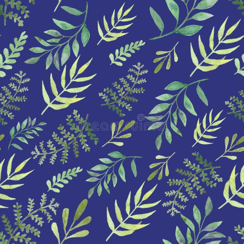 Folhas e ramos sem emenda dos testes padrões da aquarela Elementos de surpresa do projeto fotos de stock royalty free