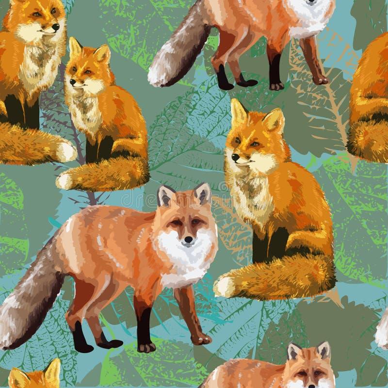 folhas e raposa de outono ilustração do vetor