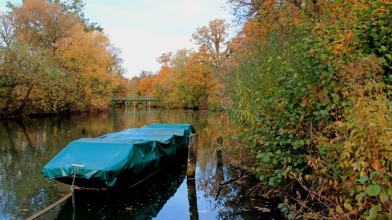 Folhas e rio de queda coloridos da série foto de stock royalty free