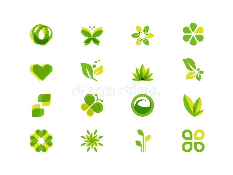 Folhas e símbolos da ecologia ilustração stock