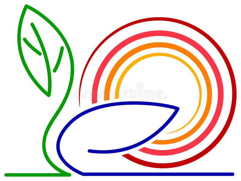 Folhas e sol ilustração royalty free