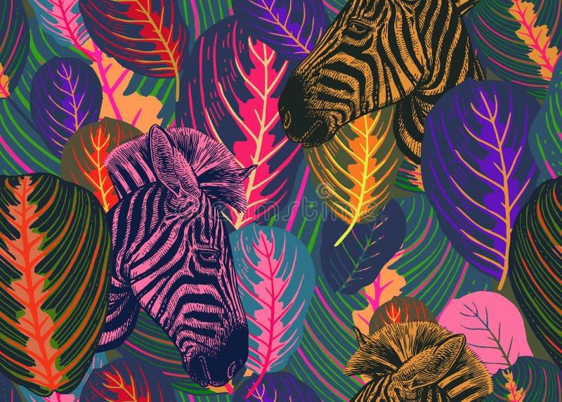 Folhas e zebras tropicais dos animais Teste padrão sem emenda ilustração royalty free