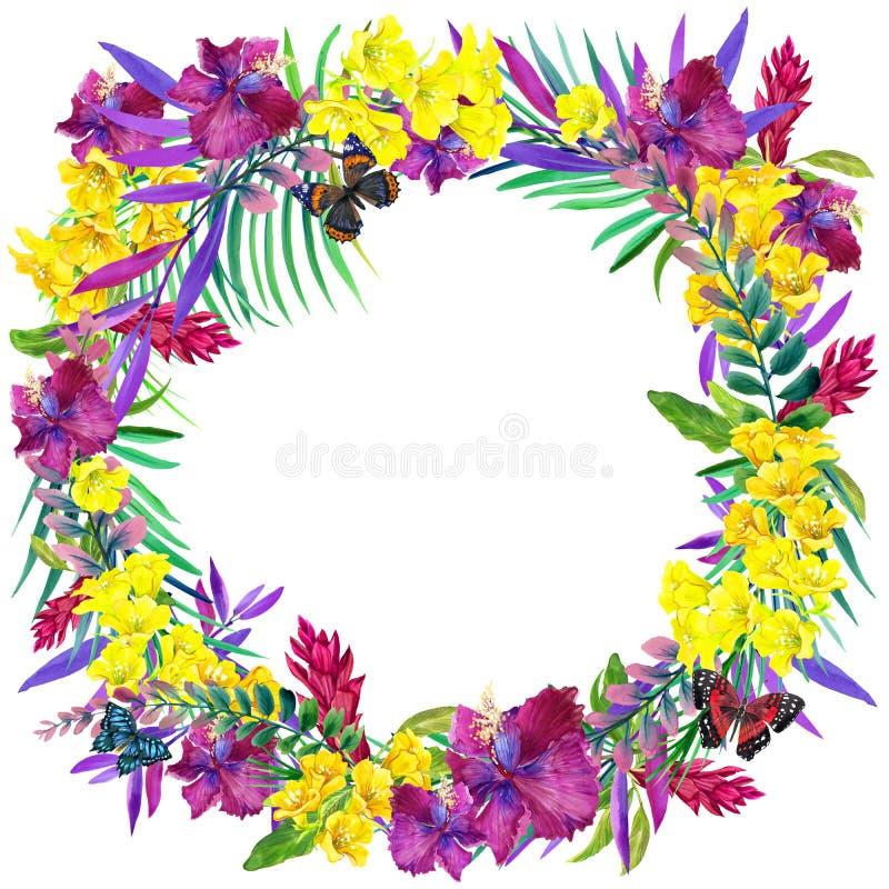 Folhas, flores e borboleta tropicais ilustração do vetor