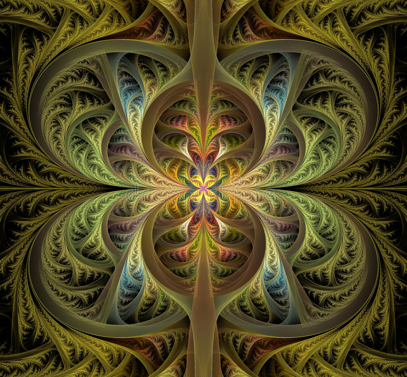 Folhas góticos abstratas Fractal patern Imagem bonita imagem de stock