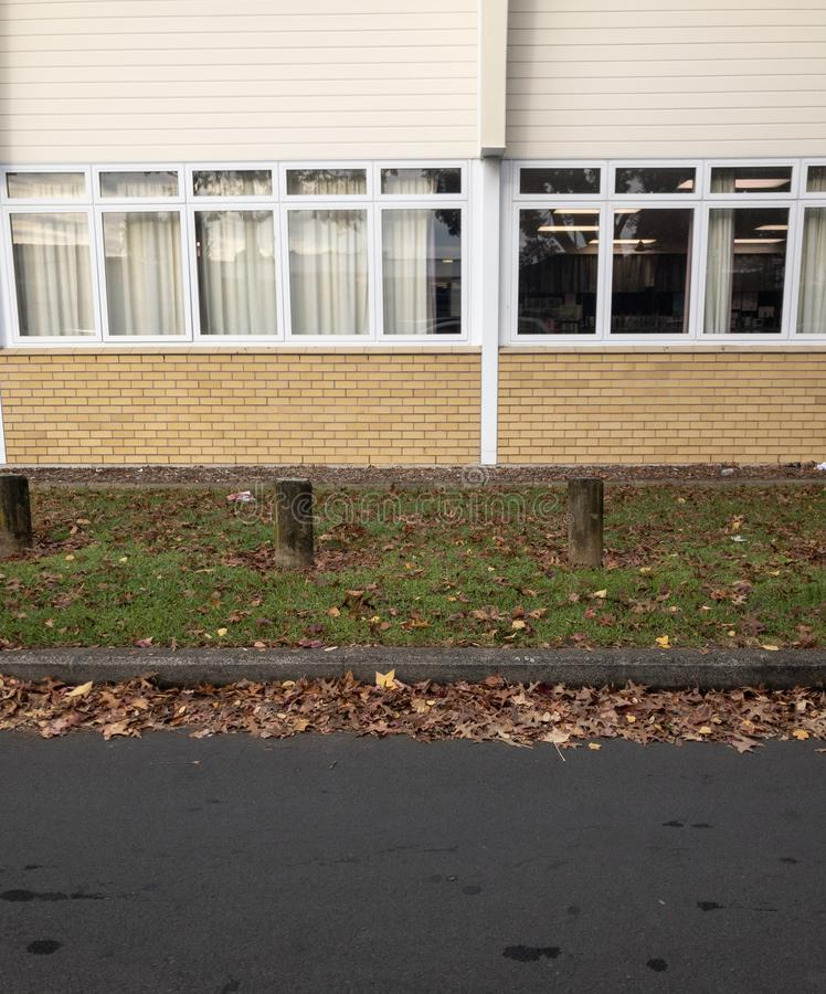 Folhas gramíneas da orla e de outono do prédio da escola imagens de stock