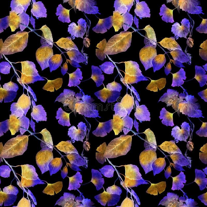 Folhas incomuns da iluminação Teste padrão sem emenda misterioso da noite watercolor ilustração royalty free