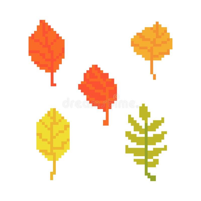 Folhas isoladas no fundo branco Gráficos para jogos ilustração do vetor de 8 bocados na arte do pixel ilustração royalty free