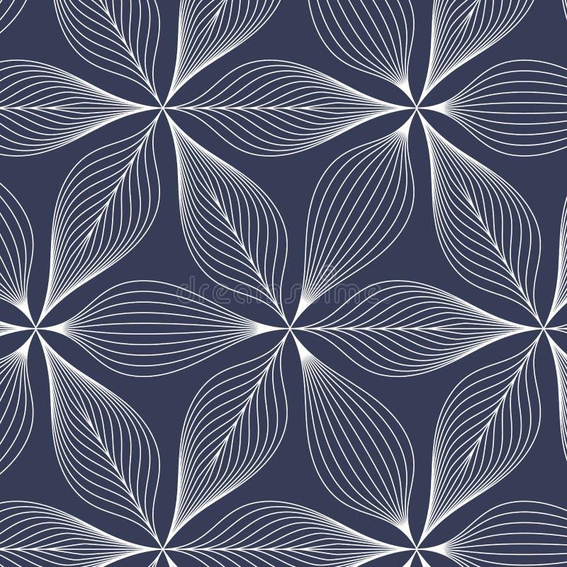 Folhas lineares brancas abstratas na obscuridade - fundo azul Teste padrão do vetor ilustração royalty free
